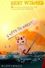 Cat Kitten In Rain Umbrella Duck Floats In Puddle Best Wishes Heavy Stock Card