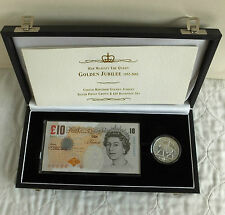2002 £5 GOLDEN JUBILEE SILVER PROOF + £10 BANKNOTE SET - complete