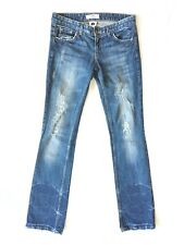 ARMANI EXCHANGE Womens J57 Ultra Low Rise Jeans Blue Distressed Straight Leg 4R