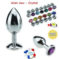 Plug Anal Crystal Acier inox Sextoy Rosebud Sexe + Fourreau noir de rangement