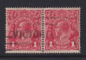 AUSTRALIA  1914: 1d red KGV variety RUN N in pair BW 71(4)vb cv $30 · see notes