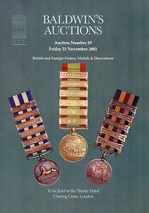 BALDWINS AUCTIONS; Sale Catalogue 23/11/2001 British and Foreign Orders etc