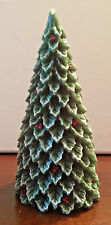 """Christmas Tree Snow Frosted Red Berry 7"""" Candle - NEW"""