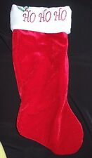 Thick plush CHRISTMAS STOCKING HO HO HO on top holly red white 20 inch boys girl