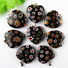wholesale 8pcs Beautiful black heart millefiori pendant bead BC1183