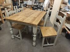 RECLAIMED CHUNKY PAINTED FARMHOUSE TABLE BESPOKE SIZES & COLOURS RAL-7044 (GREY)