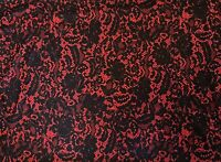 ITY Knit Floral Lace Pattern Print 4 Way Stretch Fabric 2 yd. remnant