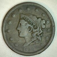 1838 Coronet Large Cent US Copper Type Coin Very Good Penny R5