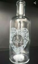 WHOLESALE JOBLOT - 24 X LOVE HEART CLEAR GLASS BOTTLES VASES - NEW - WEDDINGS