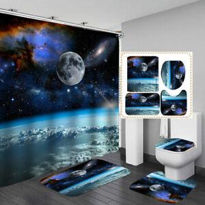 Galaxy Moon NonSlip Door Bath Mat Toilet Cover Rug Shower Curtain Bathroom Decor