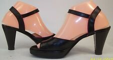 Hobbs Womens EU 38 US 7 Black Red Trim Leather Ankle Strap Heels Peep Toe Shoes