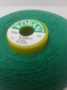 Coats Koban Tex 060 5000m cone Polyester Corespun Sewing Thread X1 Green