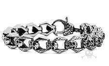 """Skull 316L Stainless Steel Bracelet Links Unisex 8.5"""" Punk Rocker Biker Gothic"""