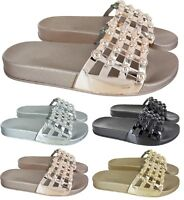 LADIES WOMENS FLAT STUDDED CASE OPEN SLIP ON MULE SLIDERS SUMMER SHOES SIZE 3-8