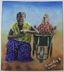 Signed Boarding Dzinotizei (b.1978) pastel drawing Selling Tomatoes Zimbabwe