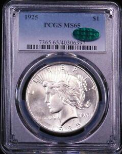 1925 P Peace Dollar PCGS MS65 CAC Blast White Superb Frosty Luster, PPQ #G708