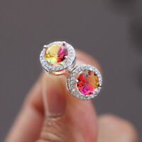 Gorgeous Round Topaz CZ Tourmaline Stud Earrings 925 Silver Wedding Jewelry Gift