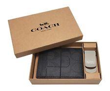 COACH- Black Oxblood F41344 (3 in 1) Men's Shadow Gift Box Money Clip/Wallet NEW
