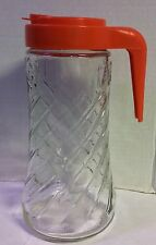 Vintage Anchor Hocking Tang Pitcher Glass 1 Qt. Orange Juice Container with Lid