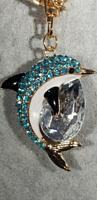 BAG CHARM KEYRING Dolphin Diamante Crystal Style Inset On Gold Tone Base & Chain