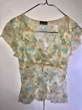 A WET SEAL Blouse Top Women Sheer Yellow Blue Floral Top Neckline Sz Large