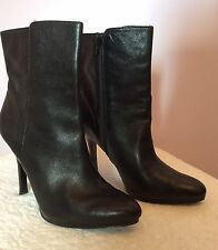 RALPH LAUREN BLACK LEATHER HEELED ANKLE BOOTS SIZE 41 UK 7