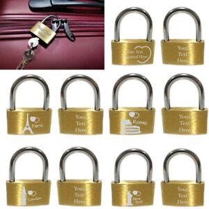 Personalised Engraved Rectangle Padlocks Lovelocks Keepsake Suitcase Lock 3 Keys
