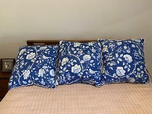 "Set of 3 20"" Indigo Blue Bird Toile Chinoiserie  Throw Pillows With Rope Detail"