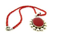 Vintage Sterling Silver & Red Salmon Coral Thermoset Bead Necklace