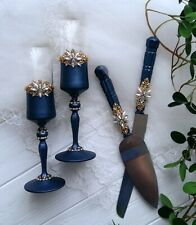 NAVY BLUE WEDDING TOASTING FLUTES CAKE SERVER SET CHAMPAGNE GLASSES