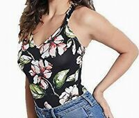 Guess Women Tank Top Black Pink Size Large L Floral Ndea Thong Bodysuit $49- 464