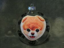 "HAND MADE POMERANIAN PUPPY  DOG 4"" GLASS CHRISTMAS ORNAMENT/BALL"