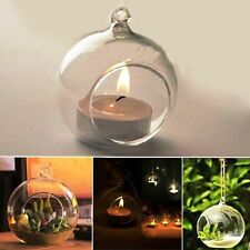 CRYSTAL GLASS HANGING CANDLE HOLDER CANDLESTICK T LIGHT FOR HOME DECOR