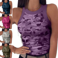 Womens Summer Sleeveless Camo Vest Tops Casual Slim Fit Tank Tops T-Shirt Blouse