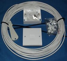 2 Pair CW1308 WHITE 20m Telephone Extension Kit: 2/3a Socket, Tool, Instructions