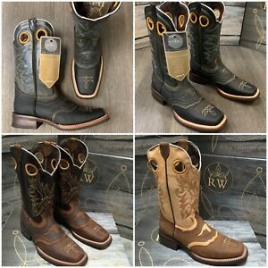 MEN'S RODEO COWBOY BOOTS GENUINE LEATHER WESTERN SQUARE TOE BOOTS BROWN BOTAS