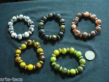 stock 5 bracciali perle legno aereografate elastici colori misti etnico tribale