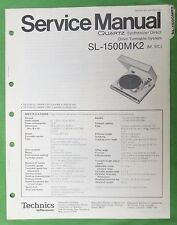 Service Manual Technics Sl-1500MkIi Turntable Photo Copy + Supplement Copy