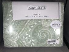 Dormisette Germany 3pc Queen Duvet Cover Set Luxury Flannel Sage Green Paisley