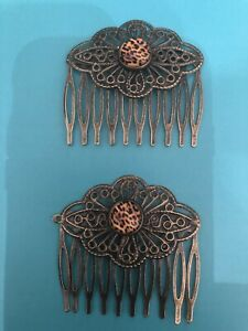 (2) Leopard  Cabochon Vintage Bronze Filigree Small Hair Combs