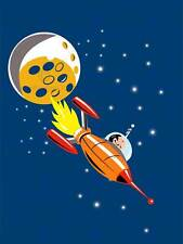 PAINTING ILLUSTRATION CARTOON SPACESHIP MOON STARS SPACE POSTER PRINT BMP11378