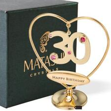 "24K Gold Plated Beautiful 30th ""Happy Birthday"" Heart Table Top Ornament Made"