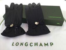 Longchamp womens black leather gloves size 7.5 BNWT