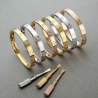 Men Women Real Stainless Steel Love Screwdriver Bangle Bracelet Fever Fade +Box