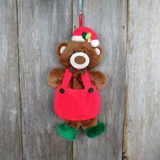 Vintage Teddy Bear Christmas Stocking Plush Bib Overalls Green Stuffed Rennoc