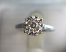 Estate 14k White Gold Round Diamond Illusion Set Cluster Engagement Ring 1/2 ct