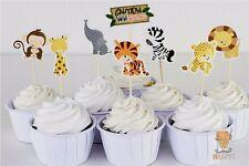 24pcs Wild Animal Lion Zebra Cupcake Cake Toppers Decoration Kids Birthday Party