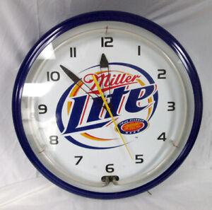 "Miller Lie Neon Vintage 20"" Man Cave Wall Clock WORKS GREAT !!"