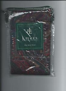 Ralph Lauren Socialite Paisley Multi King Sham Sateen Red Purple Beige New