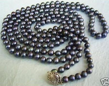"Exquisite 7-8mm FW black pearl necklace 50"" AAA"